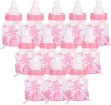 Siumir 12PCS Biberón de Plástico Mini Botella de Caramelo Caja de Regalo para Fiesta de Baby Shower, Cumpleaños Fiesta (Rosa)