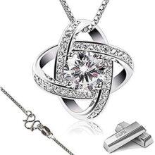 Collar Mujer Plata de Ley 925 ''Eres la luz de mis Ojos'' con para Regalo San Valentín Originales Cadena 45cm Longitud (Sliver) …