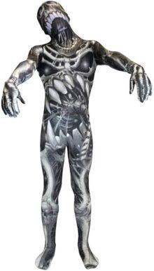 Cráneo y Huesos Kids Monster Morphsuit Disfraz Calavera y huesos, multicolor, talla Mediano 3'7-4'0  (108cm-122cm)