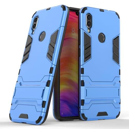 Funda Xiaomi Redmi Note 7, Robusta Armadura Híbrida TPU / PC, Anti-Rallones Panel trasero + Parachoques TPU a prueba de golpes + Soporte plegable (Azul)