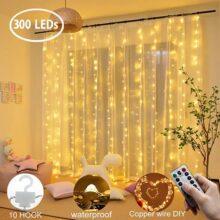 Slowton Cortina de luces LED, 3 * 3 m 300 LED Resistente al Agua con 8 Modos Cadena de luces por USB, Luz de cuerda para la fiesta de la boda casa jardín dormitorio al aire libre interior pared decoraciones de Navidad (3 x 3m),Regalo para San Valentín