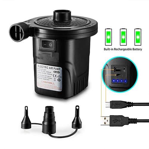 LXZ-TOY Bomba de Aire Eléctrica, Inflador Eléctrico Recargable de llenado Rápido para Inflar/Desinflar Bote Inflable, Colchón de Aire, Juguete Inflado, 3 Boquillas Incluidas