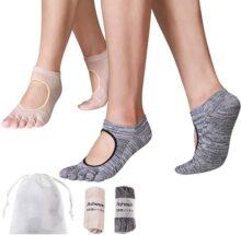 ASHOWIN Calcetines Yoga Antideslizantes, Pilates, Bikram Hot Yoga Barre, Studio Calcetas Algodón Deportivos para Mujeres calcetín con Grips Yoga Socks