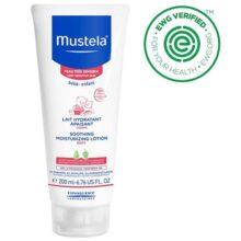 Mustela Loción corporal hidratante relajante, loción natural para la piel muy sensible, sin fragancia, 6,76 fl. Oz., Crema humectante suavizante