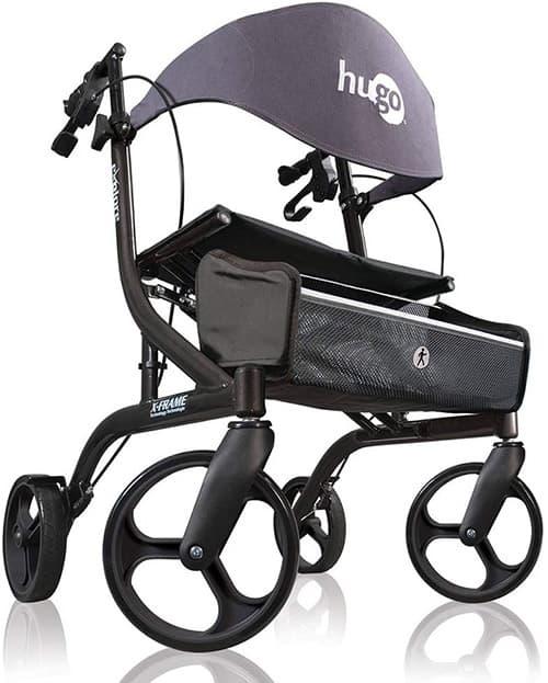 Hugo Explore Side-Fold Rollator Walker with Seat, Backrest and Folding Basket, Pearl Blk