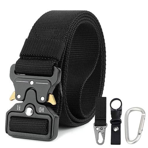 Hip Mall Cinturón táctico con 3 Accesorios, Aparejos de Correas de Estilo Militar Cinturones de Tela de Alta Resistencia con Hebilla metálica de liberación rápida