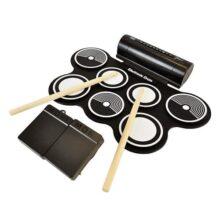 Pyle - Kit de batería electrónica MIDI con 7 almohadillas de tambor eléctricas, bocinas integradas, pedales de pie, baquetas, y fuente de poder, kit de tambor enrollable para mesa