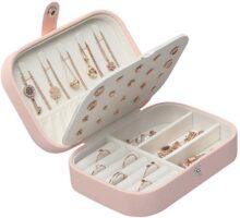 JSBelle Caja de joyería, Caja de cuero del organizador de la joyería del viaje del portable para las pulseras del collar de los pendientes de los anillos (Rosado)