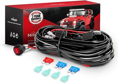Kit de arnés de cableado de barra de luz LED Nilight Interruptor de encendido / apagado de 12V Fusible de hoja de relé de potencia para luces de carretera Luz de trabajo LED, 2 años de garantía