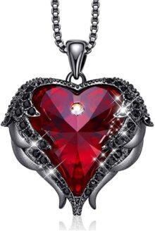 Collar Mujer Cristal de Ala de Ángel, Regalos de Joyería Adornados con Cristales de Swarovski Colgante, Collar Corazón de Océano Joyas con Caja de Regalo