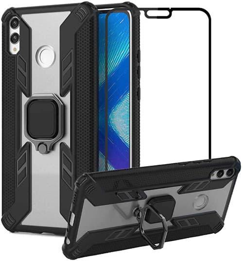 cmdkd Funda para Huawei Honor 8X Case Cover + Protector de Pantalla de Cristal Templado con 360° Giratorio Metal Anillo Pie De Apoyo,Slim Fit Transparente TPU PC Carcasa Bumper,Negro
