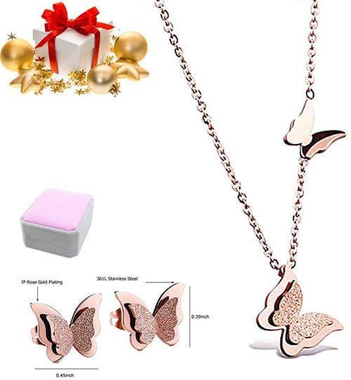 Stayoung Juego Collar Arete con Dije Mariposa Estrella Flor,Collar con Colgante Mariposa en Oro Rosa de Acero Inoxidable 16-18 Pulgadas