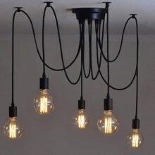 Vintage Edison Lámpara colgante de techo Lámpara industrial ajustable Araña negra, 1/3/5 cabezas (Five heads)