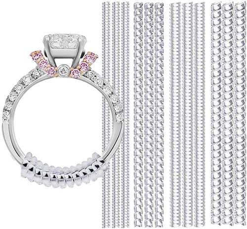Ajustador del tamaño del anillo, paquete de 12, 4 tamaños ajustados a casi cualquier anillo, Ajustador invisible del tamaño del anillo para anillos sueltos, Juego de tensor de silicona en espiral con protector de anillo