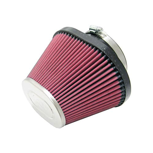 K&N RC-1681 Universal Clamp-On Air Filter: Oval Tapered; 3.938 in (100 mm) Flange ID; 4.938 in (125 mm) Height; 6.938 in x 5.25 in (176 mm x 133 mm) Base; 4.5 in x 3.25 in (114 mm x 83 mm) Top
