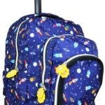 JWorld Mochila escolar con ruedas y lonchera incluida. Infantil niño. Mango retráctil de aluminio, organizador, espacio para libros y llantas con luces de colores