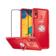 mvced Funda para Samsung Galaxy A30/A20 Case Cover Protector de Pantalla de Cristal Templado con 360° Giratorio Metal Anillo Pie De Apoyo, Slim Fit Transparente Carcasa Bumper,Rojo