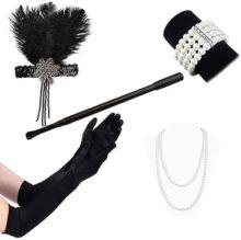 HomeChi 1920s Accesorios de disfraces de Gatsby Flapper Set 20s Flapper Diadema Collar de perlas Guantes Titular de cigarrillosurones Diademas y Bandas para el Pelo