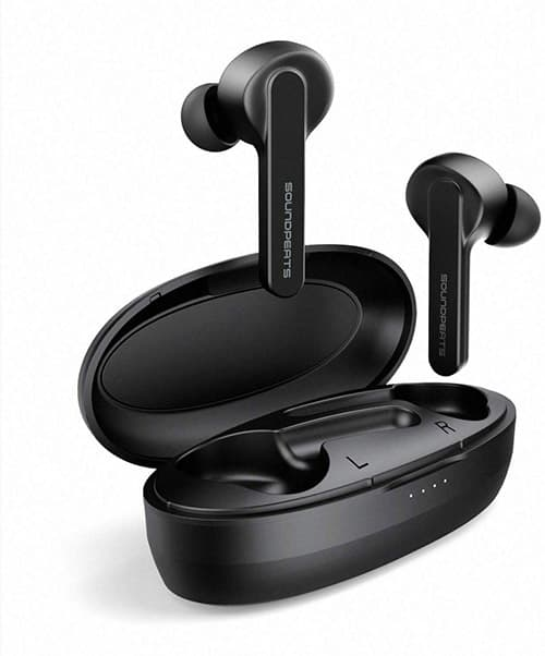 SoundPEATS Audífonos Bluetooth, TrueCapsule Auriculares Bluetooth 5.0 In-Ear IPX5 Impermeable Mini Audífonos Inalámbricos Deportivos Estéreo Sonido de Alta Definición, Manos Libres Micrófono Incorporado Control Tactil 24Horas con Caja de Carga Portátil para iOS y Android [Nueva Versión]