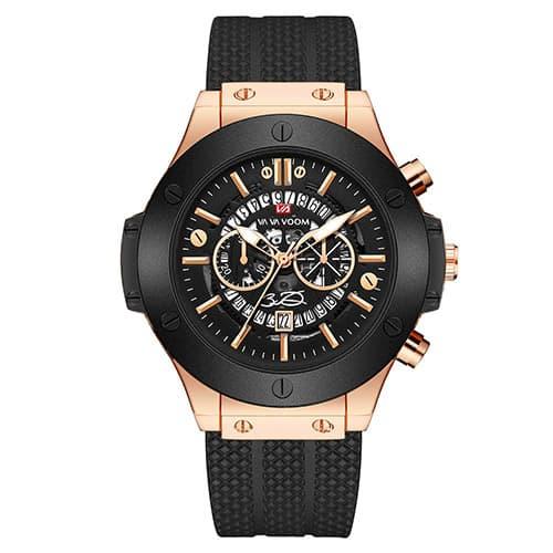 Aiml Reloj para hombre original agujas decorativas hueco moda personalidad casual negocios cuarzo impermeable reloj de regalo correa de cuero negro