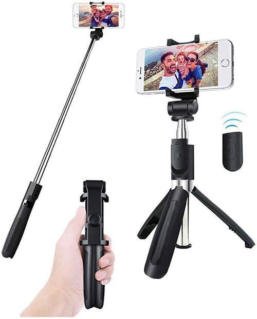 IFORU Palos Selfie, Selfie Stick Bluetooth para Celular 360° Rotación, Monopod con Control Remoto para iPhone 11/11 Pro/XR/XS/8/8Plus/X/7, One Plus, Samsung S10 S9 S8, Huawei P30 Sony y GPS