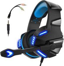 Audífonos Gamer con Micrófono para PS4 Xbox One PC, Diadema Auriculares Alámbrico Estéreo para Juegos Cancelación de Ruido y Luz LED Control de Volumen Headset para Computadora Portátil, Tableta, Celulares - Azul