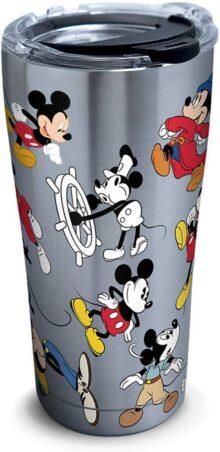 Tervis 1297811 Disney-Mickey Mouse 90º cumpleaños vaso aislado de acero inoxidable con tapa de martillo transparente y negro, 20oz, plateado, Plateado, 591.47 mililitros, 1