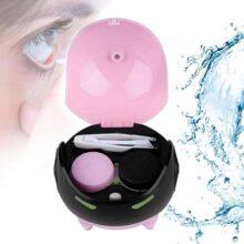 Yotown Caja de Lentes de Contacto, Lentes de Contacto de Lentes de Contacto automática ultrasónica portátil Máscara de Limpieza de Lentes Arandelas Caja de Lentes más Limpia, Carga USB(Rosa)
