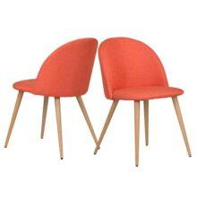 Homy Lin Silla para el hogar Set de 2 Silla de Comedor piernas de Transferencia de Madera de diseño Moderno Naranja