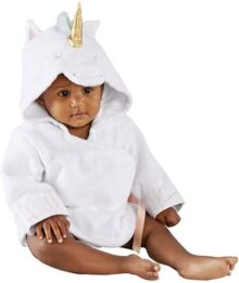 Baby Aspen Simply Enchanted Unicorn Hooded Spa Robe, White/Gold/Topaz/Pink