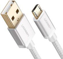 UGREEN Cable USB Micro USB Nylon Trenzado Rápido Cargador 1 Metro para Samsung Galaxy S7 S6 EDGE S5 Nota 5 4 3, Xiaomi, Huawei, HTC, Oneplus, LG, Nokia, PS4, Tablets, E lectores y Mas (1m, Blanco)