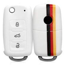 kwmobile Funda para Llave de 3 Botones para Coche VW Skoda Seat - Carcasa Protectora Suave de Silicona - Case de Mando de Auto con diseño Bandera Alemana