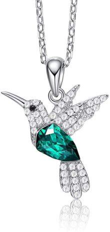 CDE KKX Especialmente Disponible Collares de colibrí S925 Collares de Plata esterlina para Mujer con Adornos de Cristales, joyería para Mujer, Collar de Animales Regalos para Novia y mamá Negro