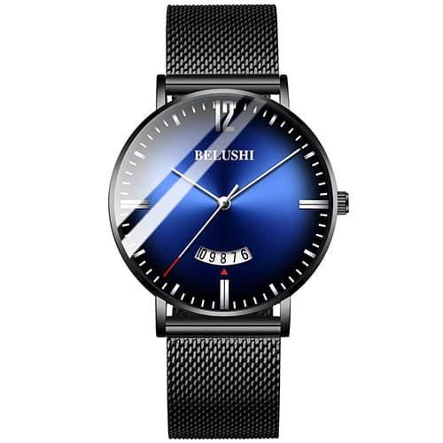 Aiml Reloj de hombre Decoloración simple original de moda de personalidad negocio de Fecha prueba de agua reloj de regalo de cuarzo analógico Negro