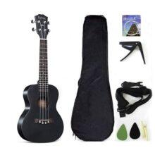 Ukelele de concierto de madera de caoba maciza de 23 pulgadas con accesorios para ukelele con funda, correa, cuerda de nailon, púas, Negro, 23 inch