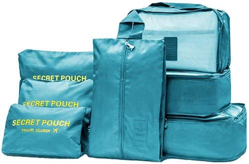 Oniche Cubos de embalaje de viaje, multifunción 7 Organizador de equipaje con bolsa de lavandería, Impermeable Organizador de Maleta Bolsa para Ropa Zapato Sucio de Viaje(7 pcs lago azul)