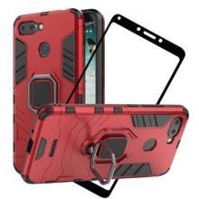 cmdkd Funda para Xiaomi Redmi 6 Case Cover Protector de Pantalla de Cristal Templado con Pie De Apoyo, Híbrida Rugged Armor Protección Dual Layer Bumper Carcasa,Rojo