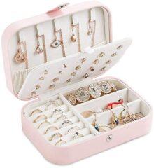 Limón Caja de joyería Organizador de Collares, Caja de Cuero del Organizador de la joyería del Viaje Portable para Las Pulseras del Collar de los Pendientes de los Anillos (Rosado)