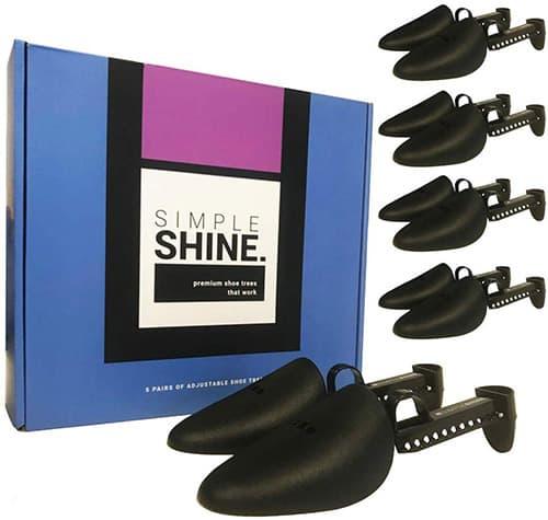 5 pares de árboles para zapatos, 10 unidades de longitud ajustable, forma de zapato, puntera y protector de talón