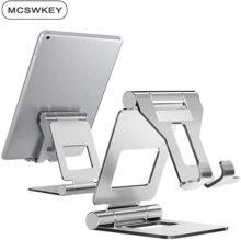 MCSWKEY Soporte Móvil, Multiángulo Soporte de Celular y Tablet , Base para Tablet, Aluminio Portátil Soporte Ajustable de 4''~13'' para Celular Soporte Móvil Tablet Mesa Plegable para iPhone ,Samsung, Huawei,Xiaomi,Tablets,Android,iPad,Kindle,Note (Silver)