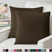 "The Connecticut Home Company - Juego de 2 fundas de almohada de terciopelo de lujo, fundas de almohada, fundas de almohada de lujo suaves y decorativas para cama, sala de estar, recámara, sofá, Chocolate, Set of 2 (18"" x 18""), 1"