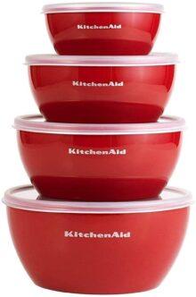 KitchenAid Tazones de preparación, Juego de 4 tazones para preparación, Rojo, 1