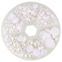 Pandahall 1 Box White Mixed Sizes Flat back Pearl Cabochon (about 690pcs/box) by Pandahall