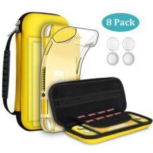 GeeRic Kit de Accesorios Compatible para Nintendo Switch Lite 4 en 1 con Funda Compatible para Switch Lite, Carcasa Transparente, 2 Protector de Pantalla, 4 Joy-con Pulgar Grips, Paño de Limpieza