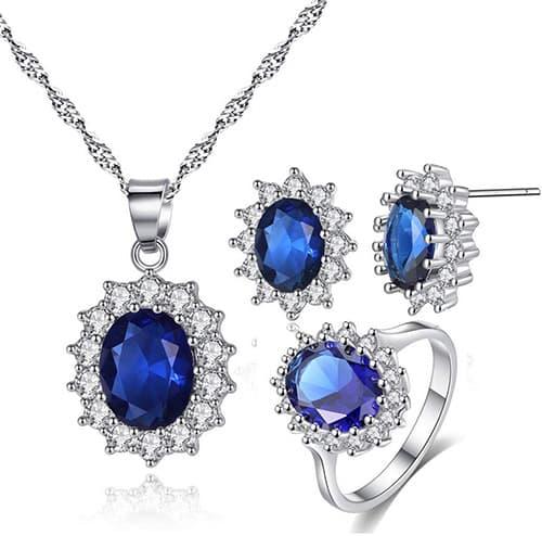 CARSINEL Blanco Oro Plateado Colgante Collar Pendientes y Anillos Brillante Azul Zirconia Cúbica Conjunto de Joyas Regalo Perfecto para Las Mujeres