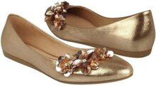 MY CLASBEN Flats Casuales para Dama Textil Oro con Rosado 170452