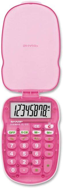 Sharp ELS10BBL - Calculadora translúcida de 8 dígitos con Cubierta Protectora Dura, visualización LCD a Pilas, calculadora de Bolsillo pequeña para Estudiantes y Profesionales, Color Rosa