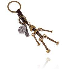 Llavero estilo vintage - Llavero de piel(cuero) y acero - accesorio para mujer y hombre - Accesorio para llave de auto Estilo Vintage Screw Robot