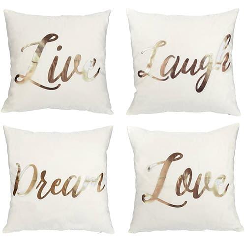 """Juvale - Set de 4 fundas de almohada / cojín 4, diseño """"Live"""", """"Laugh"""", """"Love,"""" """"Dream"""", oro rosa, impresión decoración del hogar / sofá, color blanco, 43 x 43 cm"""