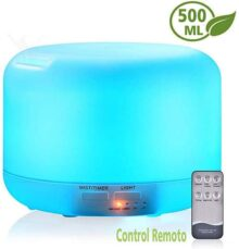 500ml Difusor de Aceites Esenciales/Ultrasónico Humidificadores /Vaporizador Aceites Esenciales, con Control Remoto, 7-Color LED,4 Temporizador, Ambientador, Humidificador Bebes, Hogar, Oficina,Bebé,Dormitorio etc
